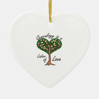 GENEALOGY LABOR OF LOVE Double-Sided HEART CERAMIC CHRISTMAS ORNAMENT