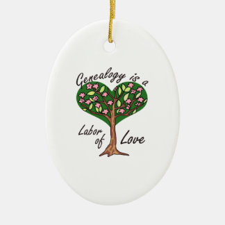 GENEALOGY LABOR OF LOVE Double-Sided OVAL CERAMIC CHRISTMAS ORNAMENT
