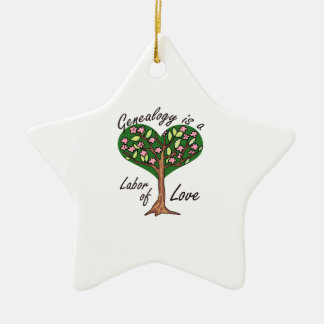 GENEALOGY LABOR OF LOVE Double-Sided STAR CERAMIC CHRISTMAS ORNAMENT
