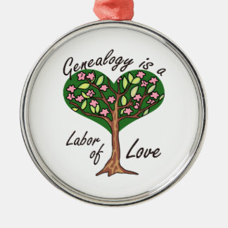GENEALOGY LABOR OF LOVE ROUND METAL CHRISTMAS ORNAMENT