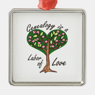GENEALOGY LABOR OF LOVE SQUARE METAL CHRISTMAS ORNAMENT