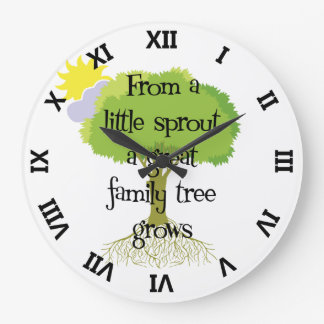 Genealogy Little Sprout Family Tree Large Clock