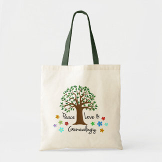 Genealogy Peace Love Family Tree Tote Bag