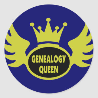 Genealogy Queen 2 Classic Round Sticker