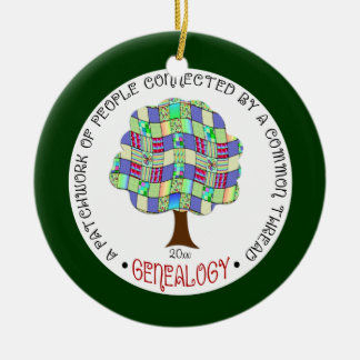 Genealogy Quilt Tree Christmas Holiday Ornament