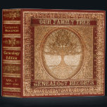"""Genealogy Records Book Binder<br><div class=""""desc"""">Genealogy Record Book - A vintage looking book with a tree of life makes a very attractive and interesting place to store photos, awards, items and more.If you need more than one book, change the volume numbers as needed. You could create an anniversary edition, wedding, new birth, bridal shower, baby...</div>"""