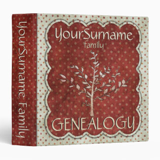 Genealogy Red White 3 Ring Binder