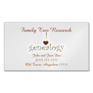 genealogy researcher template business card magnet