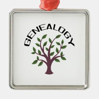 Genealogy Square Metal Christmas Ornament