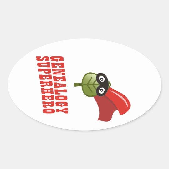 Genealogy Superhero Oval Sticker