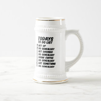 Genealogy To Do List Beer Stein