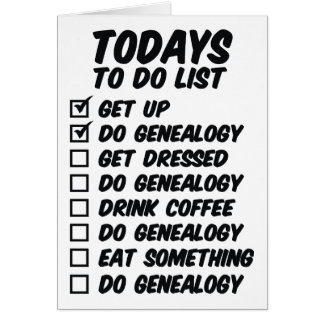 Genealogy To Do List Card