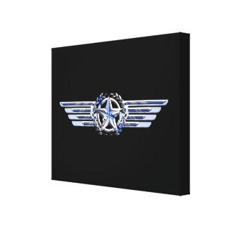 General Air Pilot Chrome Like Star Wings Black Canvas Print
