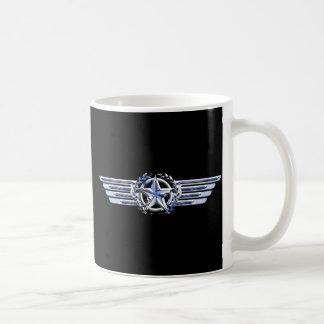 General Air Pilot Chrome Like Star Wings Black Coffee Mug