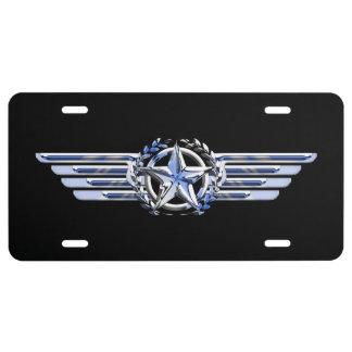 General Air Pilot Chrome Like Star Wings Black License Plate