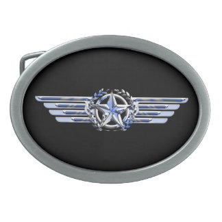 General Air Pilot Chrome Like Star Wings Black Oval Belt Buckle