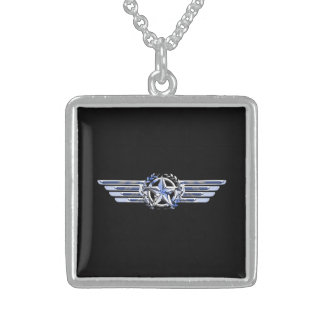 General Air Pilot Chrome Like Star Wings Black Sterling Silver Necklace