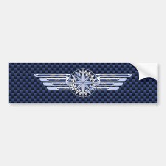 General Air Pilot Chrome Like Wings Compass Bumper Sticker