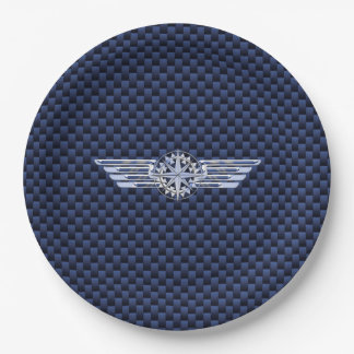 General Air Pilot Chrome Like Wings Compass Paper Plate