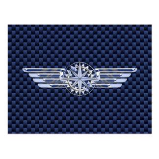 General Air Pilot Chrome Like Wings Compass Postcard