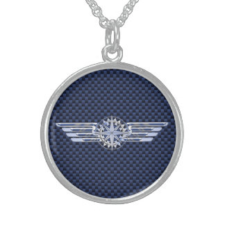 General Air Pilot Chrome Like Wings Compass Sterling Silver Necklace