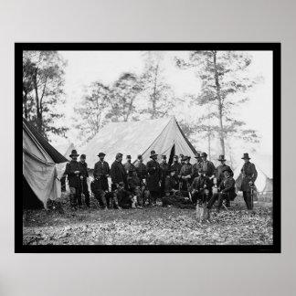 General Ambrose Burnside y personal 1862 Impresiones