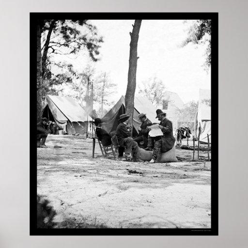 General Ambrose E. Burnside y Matthew Brady 1863 Póster