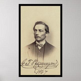 General Beauregard Signed Card 1867 Poster