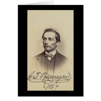 General Beauregard Signed Card 1867 Felicitación