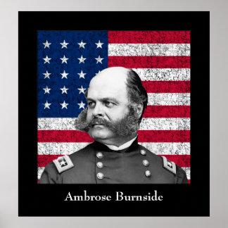 General Burnside y la bandera americana Impresiones