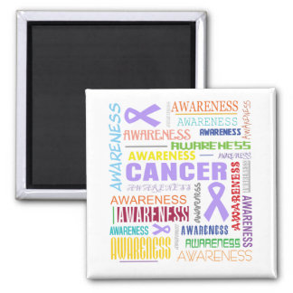 General Cancer Awareness Collage 2 Inch Square Magnet