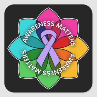 General Cancer Awareness Matters Petals Square Sticker