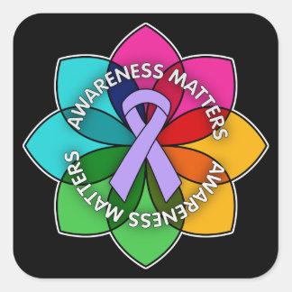 General Cancer Awareness Matters Petals Square Sticker