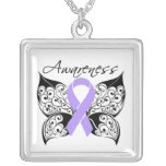 General Cancer Awareness Tattoo Butterfly Personalized Necklace