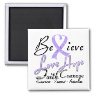 General Cancer Believe Heart Collage 2 Inch Square Magnet