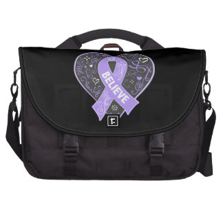 General Cancer Believe Ribbon Heart Bag For Laptop