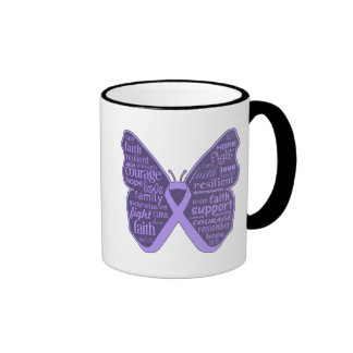 General Cancer Butterfly Collage of Words Coffee Mugs