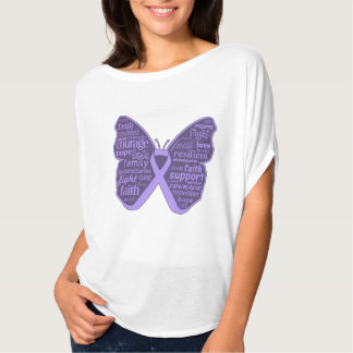 General Cancer Butterfly Collage of Words Tee Shirts