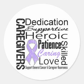 General Cancer Caregivers Collage Pegatina Redonda