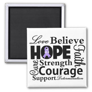 General Cancer Collage of Hope 2 Inch Square Magnet