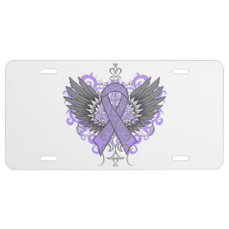 General Cancer Cool Awareness Wings License Plate