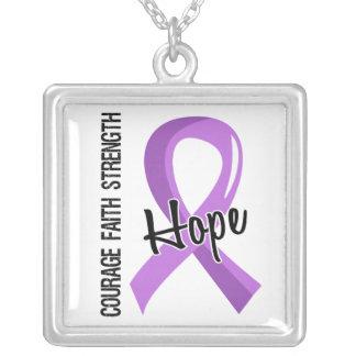 General Cancer de la esperanza 5 de la fe del valo Colgante Cuadrado