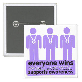 General Cancer Everyone Wins With Awareness 2 Inch Square Button
