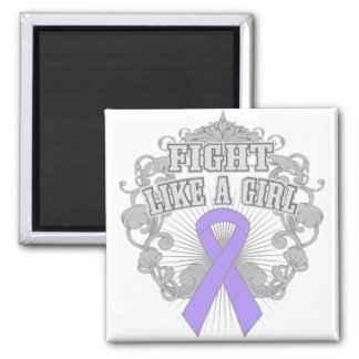 General Cancer Fight Like A Girl Fleurish 2 Inch Square Magnet