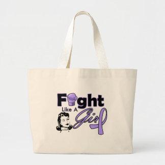 General Cancer Fight Like A Girl - Retro Girl Jumbo Tote Bag