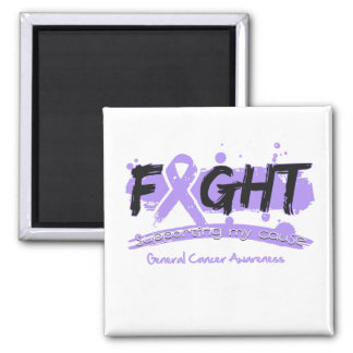 General Cancer FIGHT Supporting My Cause 2 Inch Square Magnet
