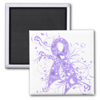 General Cancer Floral Swirls Ribbon 2 Inch Square Magnet