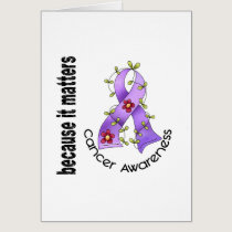General Cancer Flower Ribbon 3 Card