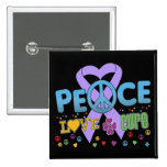General Cancer Groovy Peace Love Cure Pinback Buttons