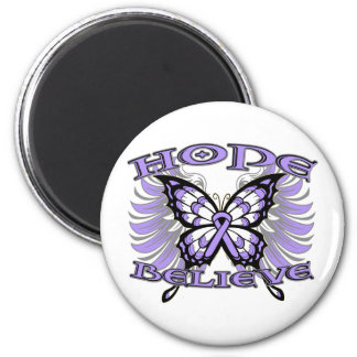 General Cancer Hope Believe Butterfly 2 Inch Round Magnet